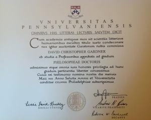 PhD Diploma, (in Latin), University of Pennsylvania, 2013