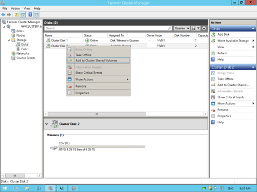 Step by Step Configuration of 2 node Hyper-V Cluster in