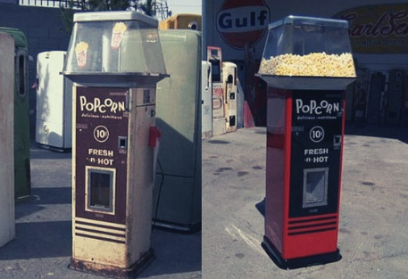A Popcorn Machine: Before and after restoration by Rick and the Team