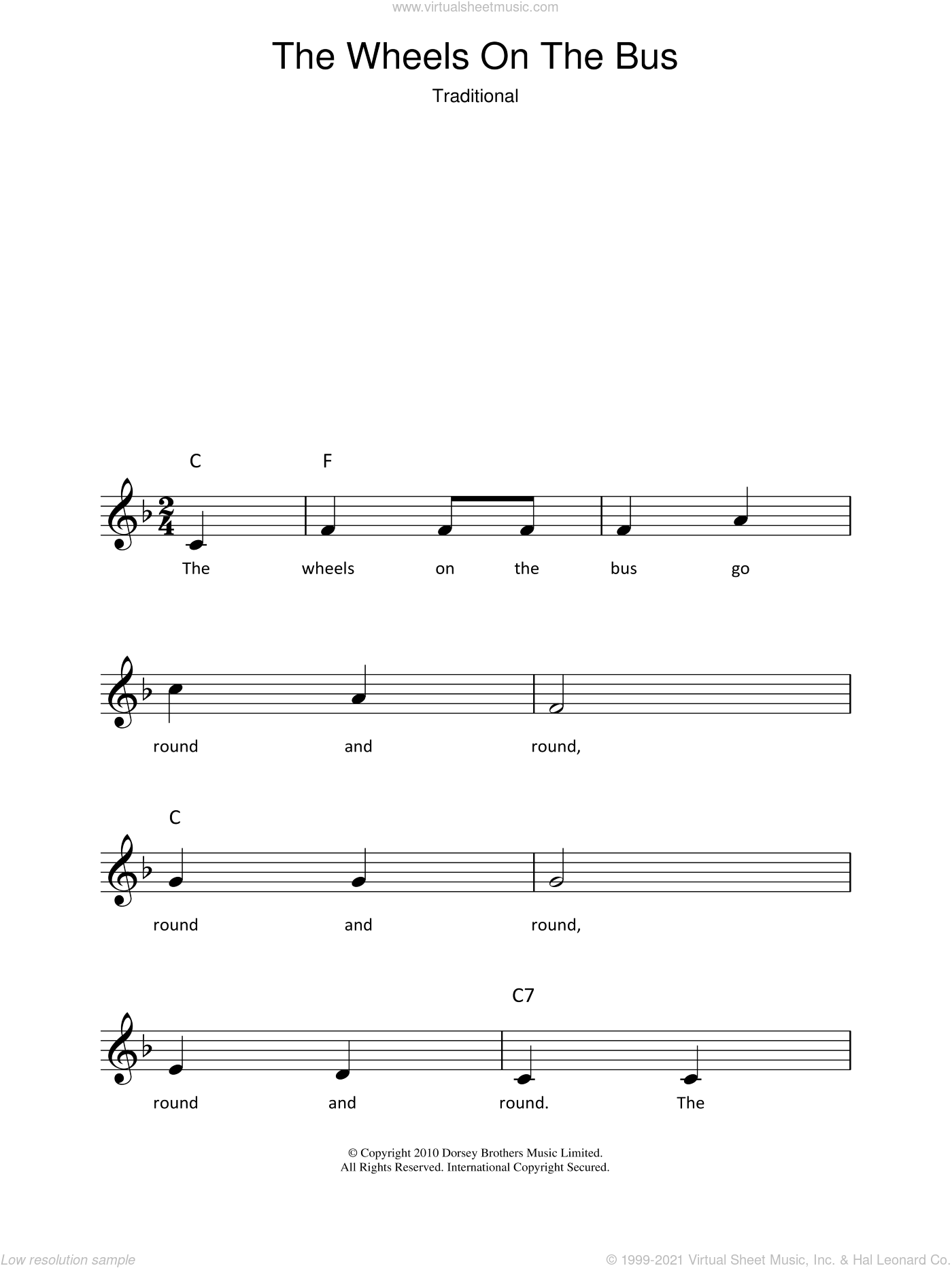 The Wheels On The Bus Sheet Music Fake Book