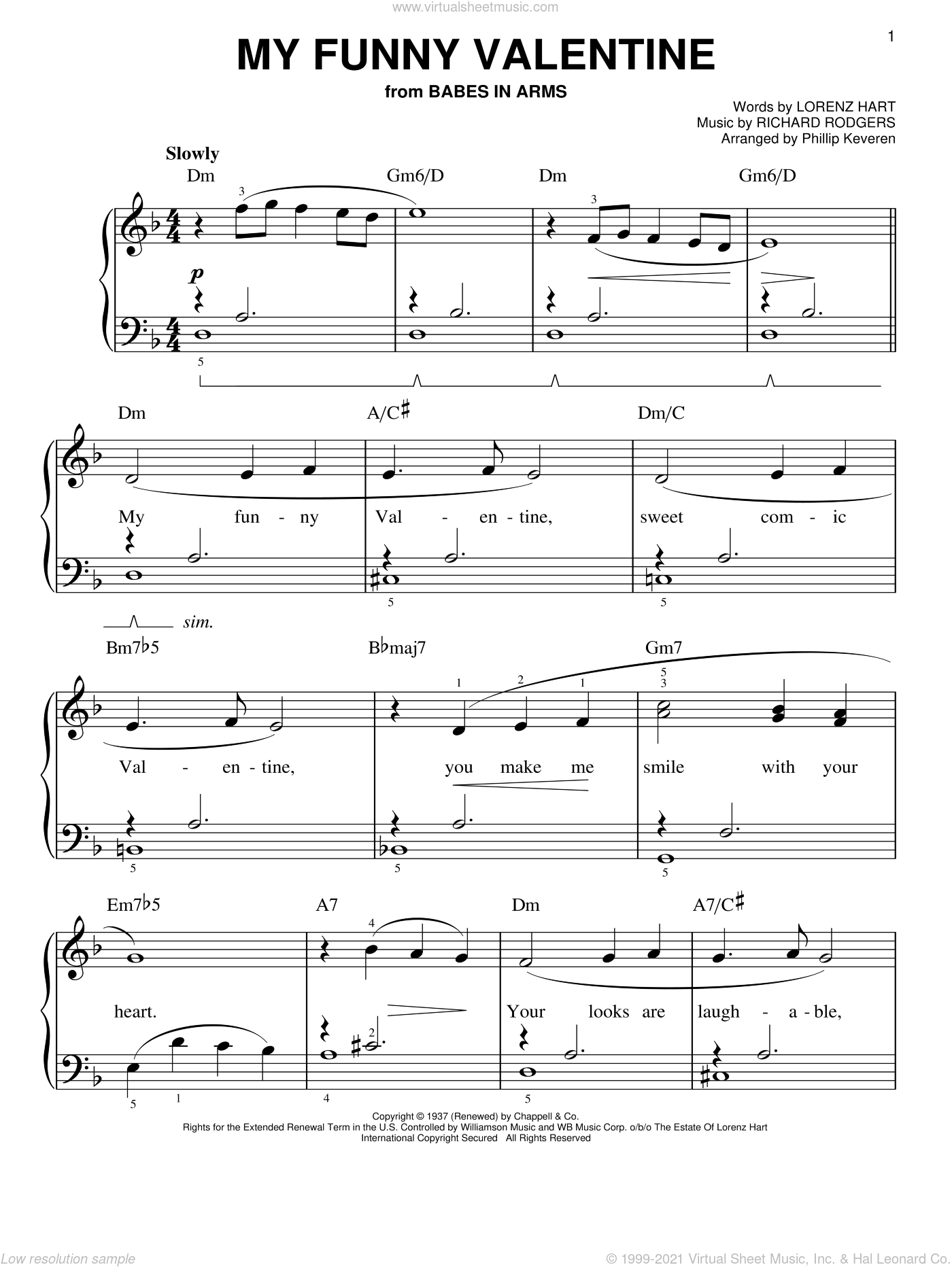 Hart My Funny Valentine Easy Sheet Music For Piano Solo