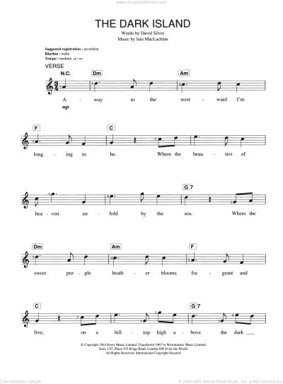 Maclachlan - The Dark Island sheet music for piano solo ...