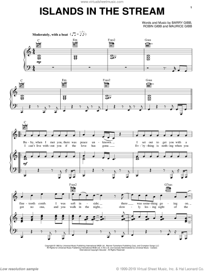 Parton - Islands In The Stream sheet music for voice ...