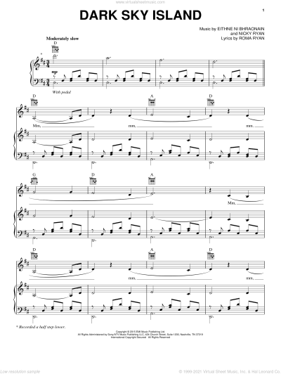 Enya - Dark Sky Island sheet music for voice, piano or guitar