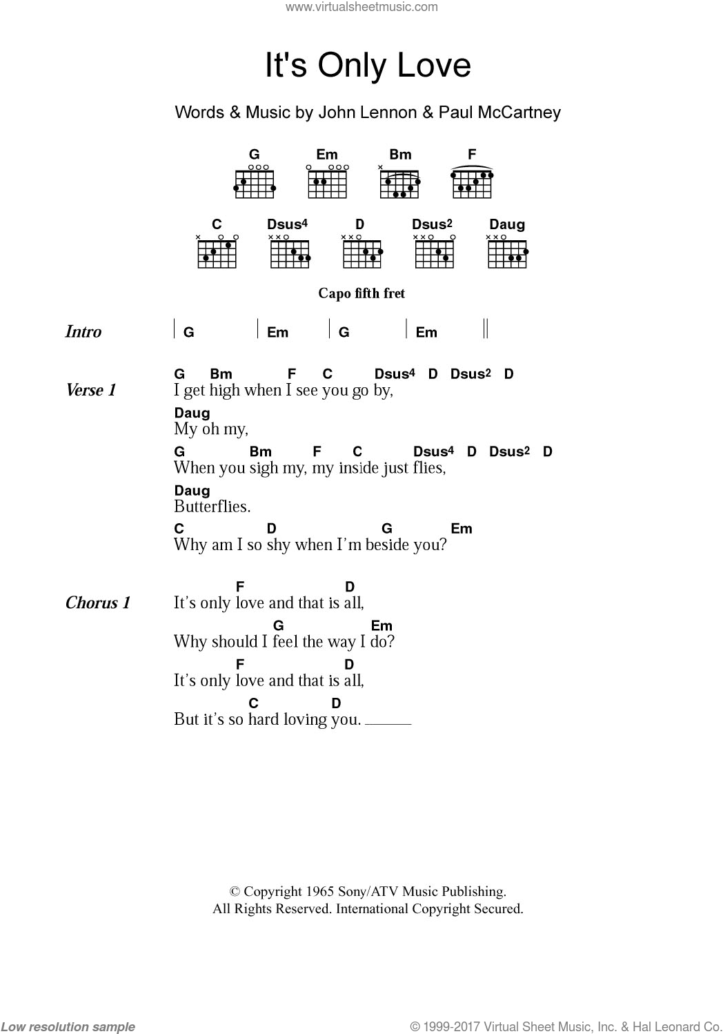 Beatles Its Only Love Sheet Music For Guitar Chords PDF