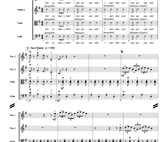 Spongebob Squarepants Theme Song Complete Sheet Music For Orchestra Strings