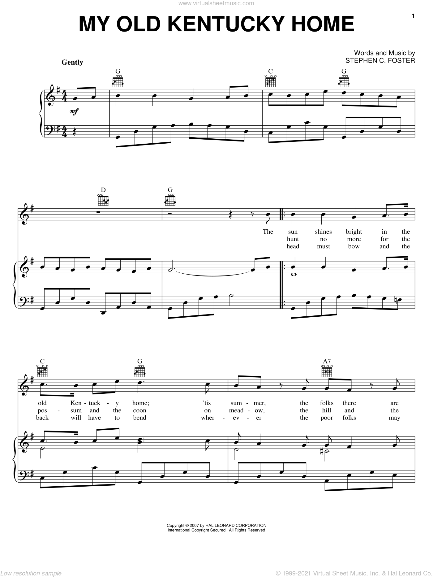 Foster My Old Kentucky Home Sheet Music For Voice Piano