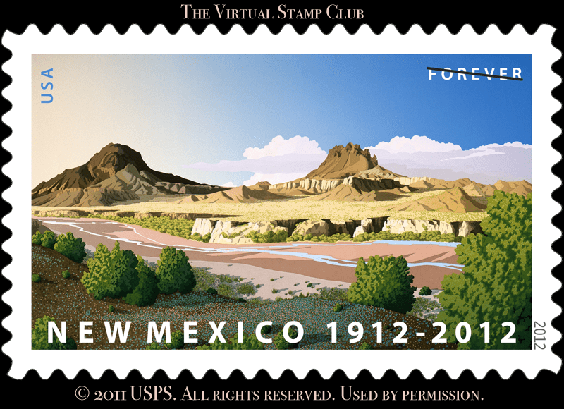 USPS stamp honoring the centennial of New Mexico's statehood, in 2012. The stamp features a representation of the beauty of the state found in its desert hills and mountains.  VirtualStampClub.com
