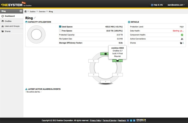 Exablox OneSystem GUI