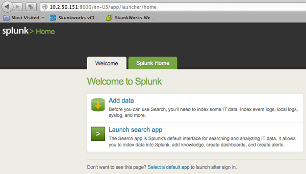 Splunk Home Page