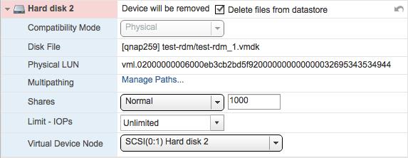 Remove RDM disk