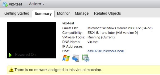 Test VM with no network connections
