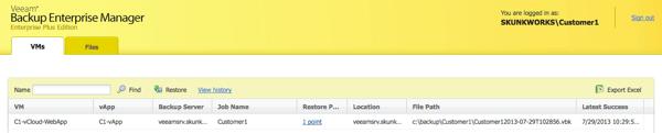 User login in the Enterprise Manager
