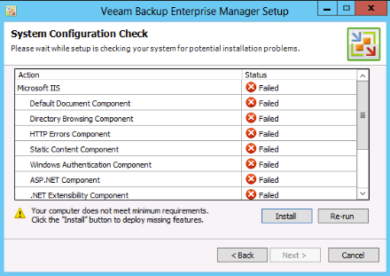 Veeam 7 allows to install missing prerequisites automatically