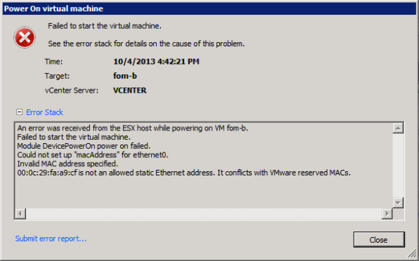 FOM with static MAC address fails to start