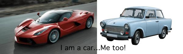 I am a car, me too!