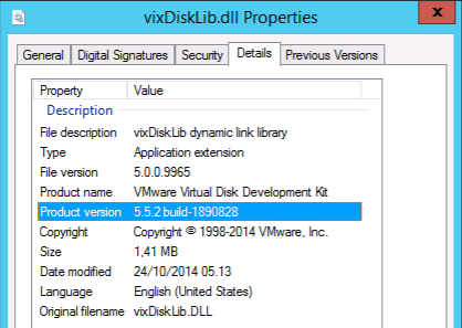 Which VDDK libraries version I'm using in Veeam Backup