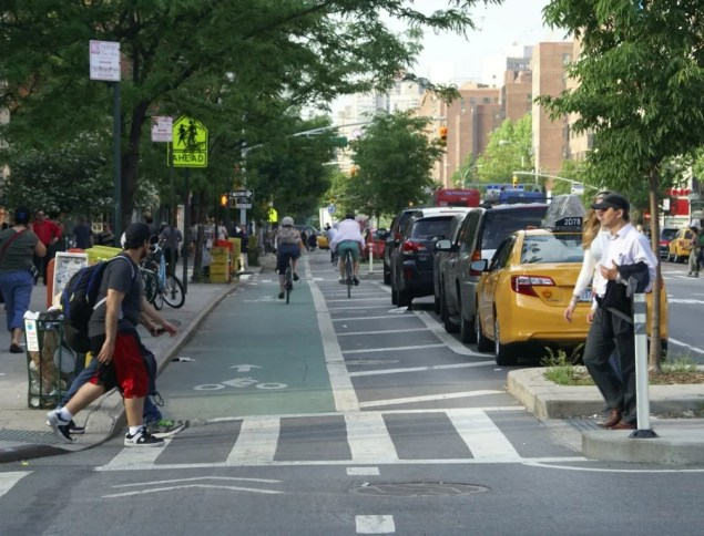 Protected Bike Lane, 1st Ave at 11th St. Photo: VB