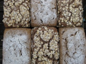 Dark and light rye loaves