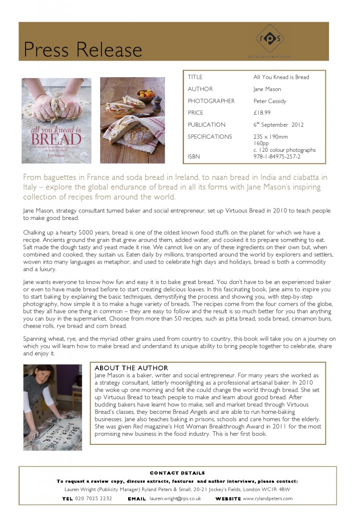 All You Knead Is Bread - Press Release 3