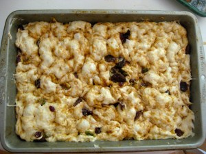 The faux-caccia all dimpled down before going in the oven