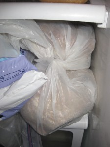 Bread in a placcy bag in freezer