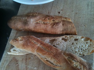 Baguette with holes neither risen nor baked using a form