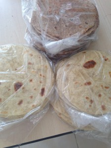 Hand made wheat tortillas.