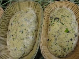 Coriander bread rising in basket