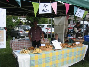 Tony and his stall - before the festival began - with a table groaning with great bread!