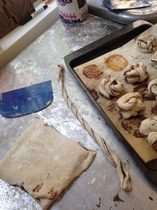 Twisted dough and tray so you can see the scale