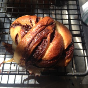 A delicious chocolate bun, ball, knot, twist, babka, bread thing that you baked before