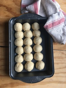 Tiny little balls of brioche dough.  50 grams each