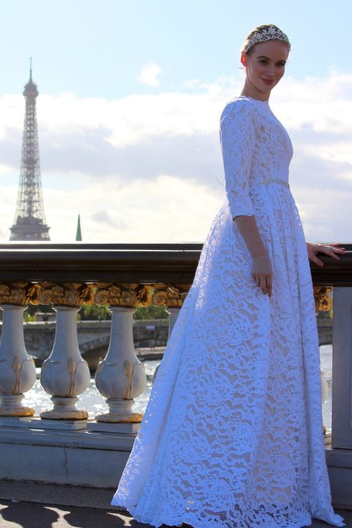 Anne Tznius Champagne White Lace Modest Wedding Dress Second Sideview