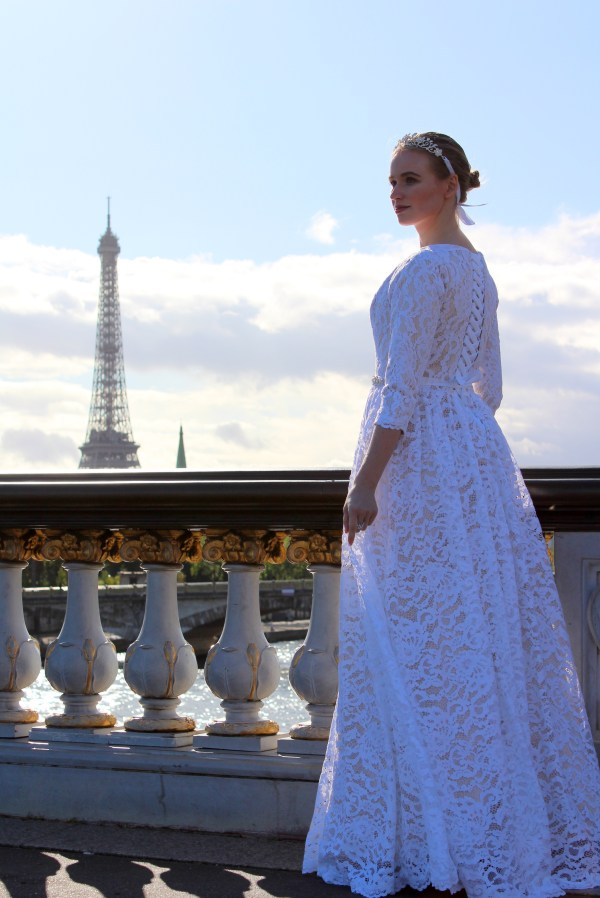 Anne Tznius Champagne White Lace Modest Wedding Dress Sideview