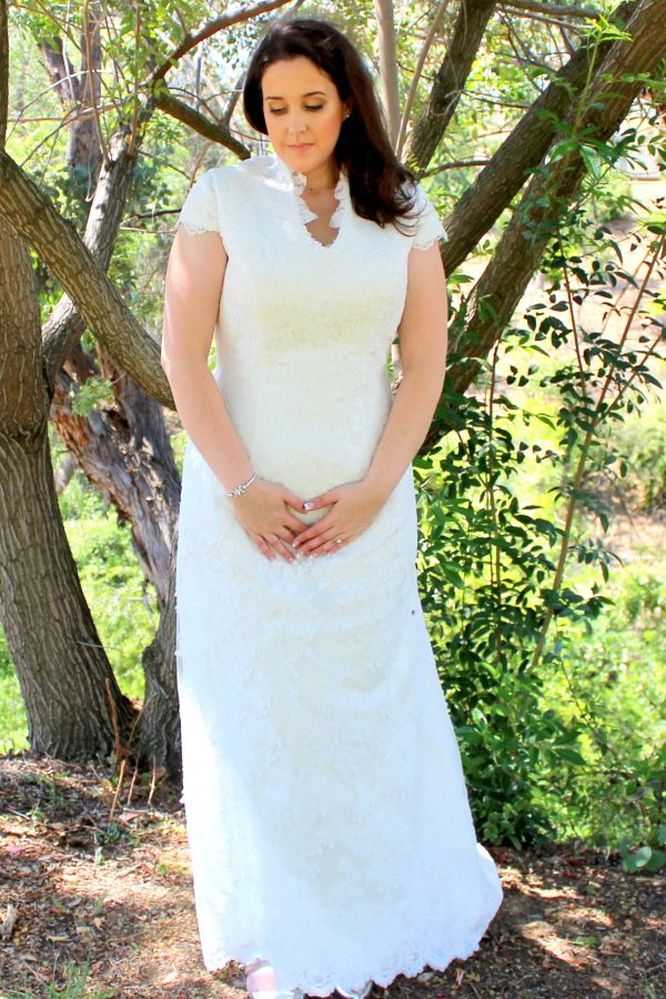 Front of Eleanor Lace Modest Wedding Dress Sleeves