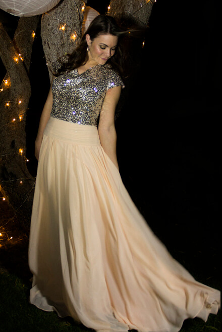 Alicia Sequin Modest Prom Dress with Sleeves
