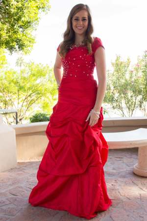 Aurora Modest Prom Dress with Sleeves in Lipstick Red