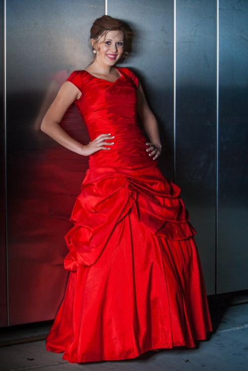 Katniss Red Modest Prom Dress with Sleeves and Gathered Skirt