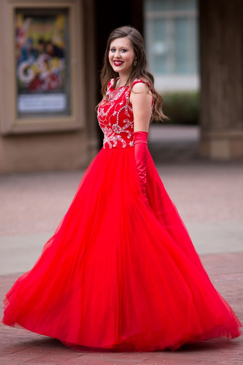 Scarlet Red Mormon Modest Prom Dress
