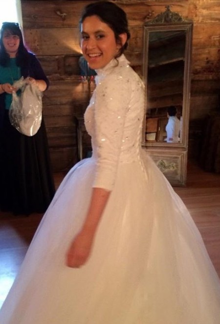 Sasha in her Tznius Wedding Dress