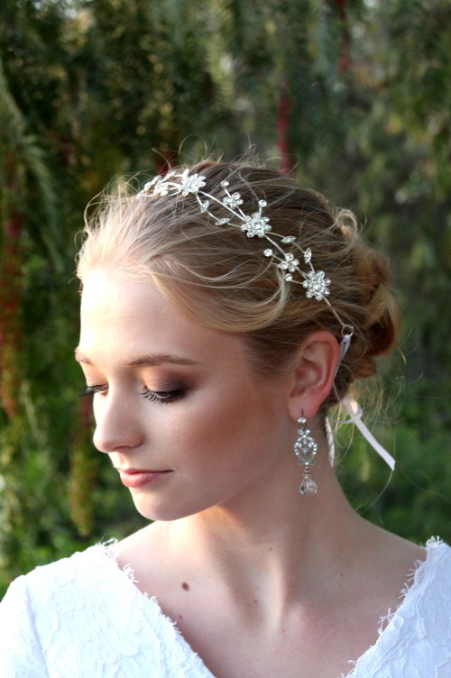 Rose Silver Rhinestone Bridal Headpiece