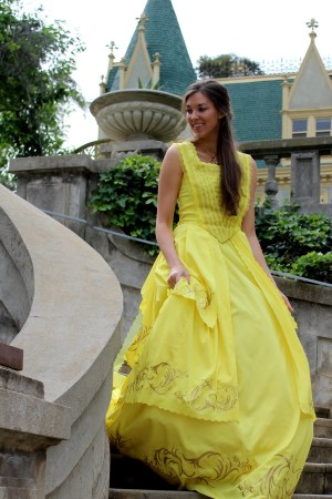 Belle 2017 Beauty Beast Emma Watson Gold Yellow Ball Gown Dress Womens Cosplay Costume Descending Stairs at Castle