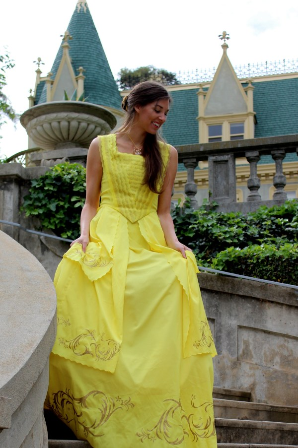Belle 2017 Beauty Beast Emma Watson Gold Yellow Ball Gown Dress Womens Cosplay Costume Descending Stairs of Castle