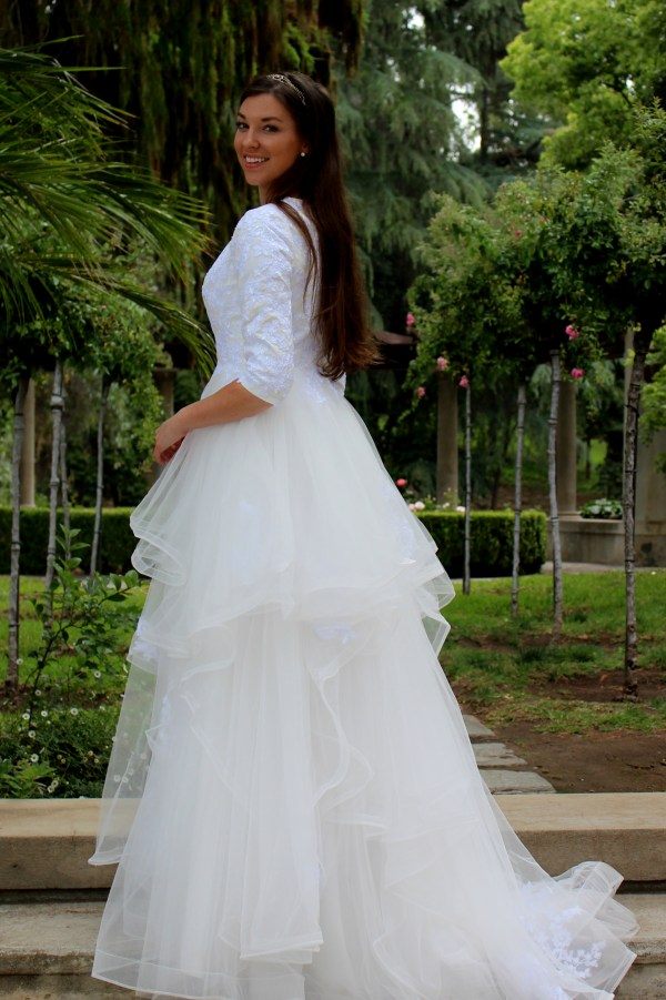 Alexandra Tznius White Ivory Lace Modest Wedding Dress Sleeves A-lin Skirt Side View
