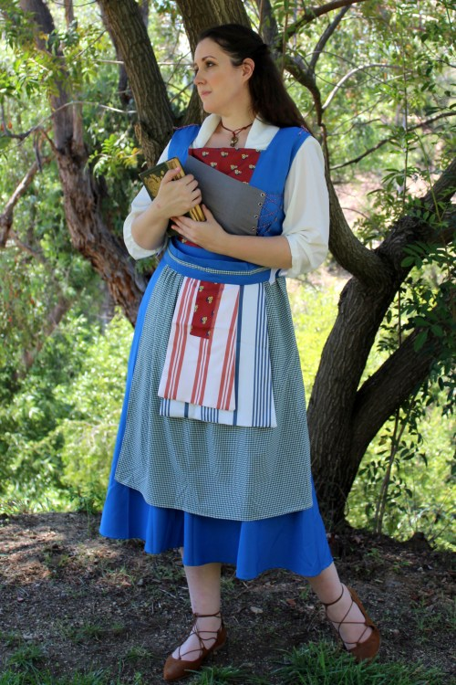 Emma Watson Belle 2017 Live Action Blue Peasant Dress with Shakespeare Book