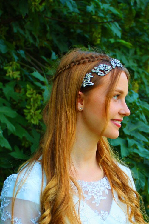 Laurel Silver Rhinestone Bridal Headpiece Sideview