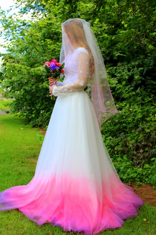 Pink Ombre Two Tier Wedding Veil