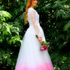 Back Pink Purple Ombre Wedding Dress Ivory Tulle Skirt