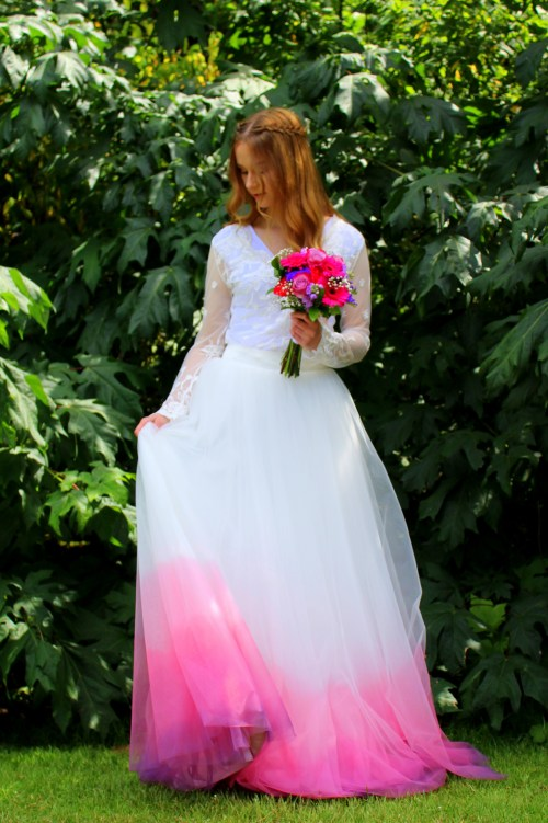 Pink Purple Ombre Wedding Dress Ivory Tulle Skirt